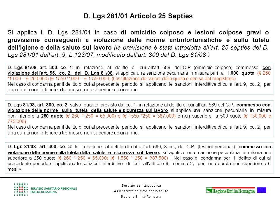 D. Lgs 281/01 Articolo 25 Septies