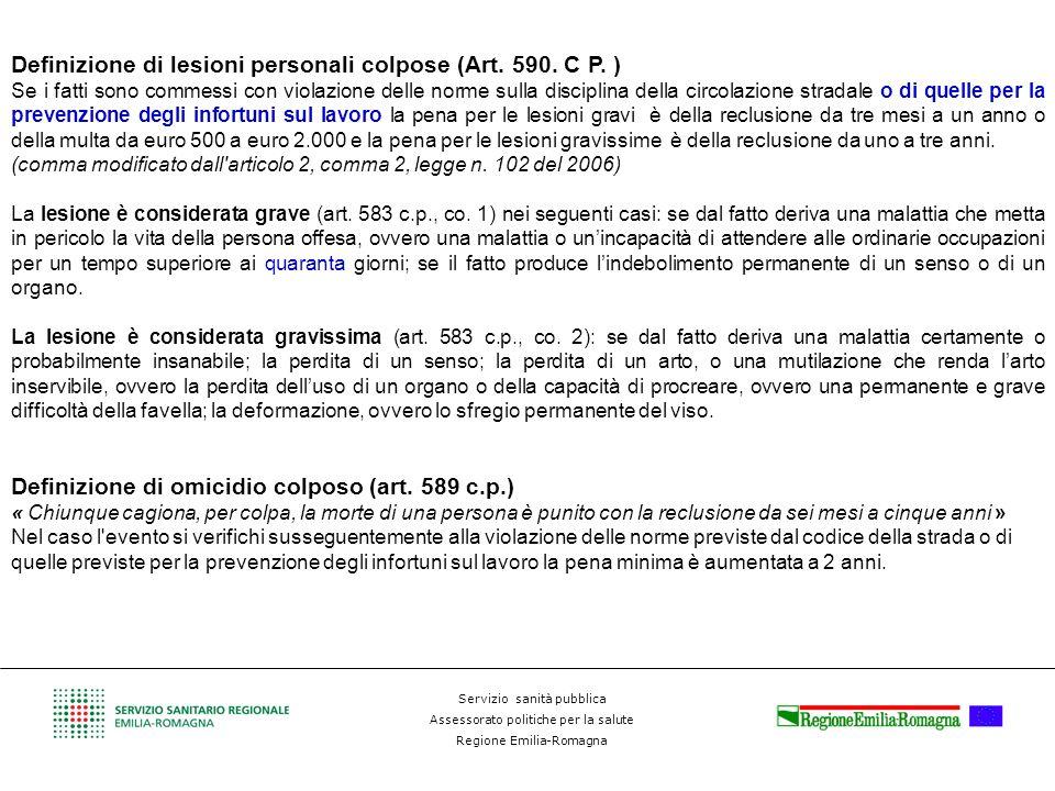 Definizione di lesioni personali colpose (Art. 590. C P. )