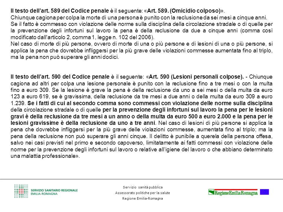 Il testo dell'art. 589 del Codice penale è il seguente: «Art. 589