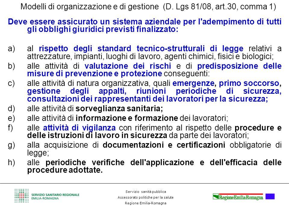 Modelli di organizzazione e di gestione (D. Lgs 81/08, art