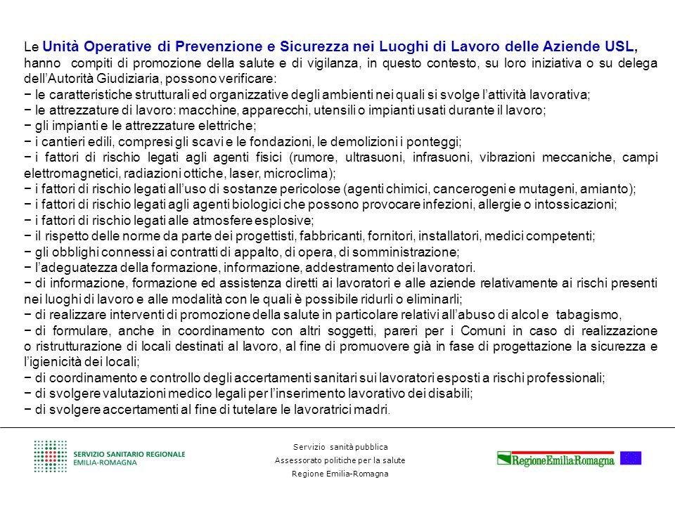 Le Unità Operative di Prevenzione e Sicurezza nei Luoghi di Lavoro delle Aziende USL,