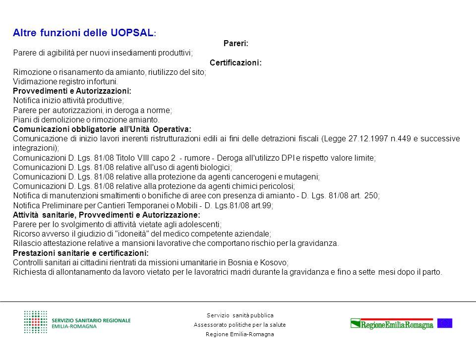 Altre funzioni delle UOPSAL: