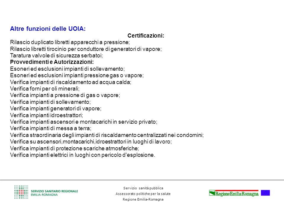 Altre funzioni delle UOIA: