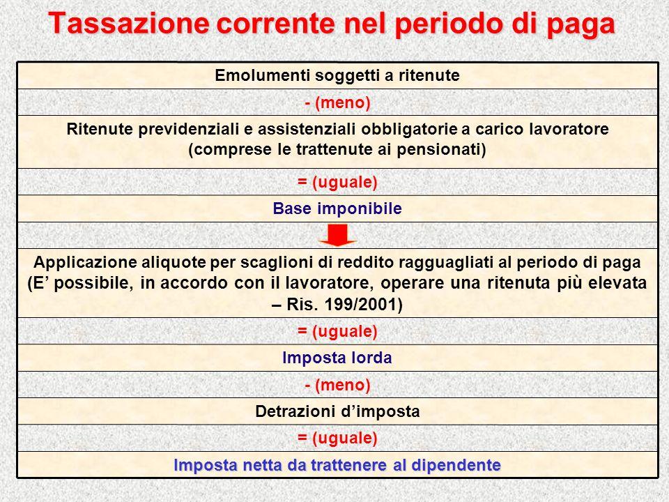 Tassazione corrente nel periodo di paga