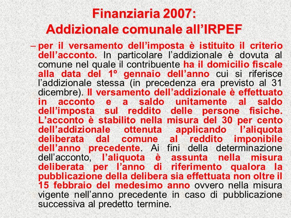 Finanziaria 2007: Addizionale comunale all'IRPEF
