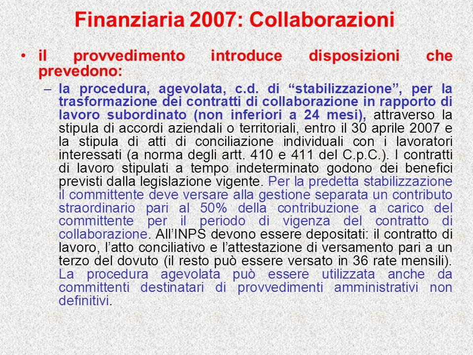 Finanziaria 2007: Collaborazioni