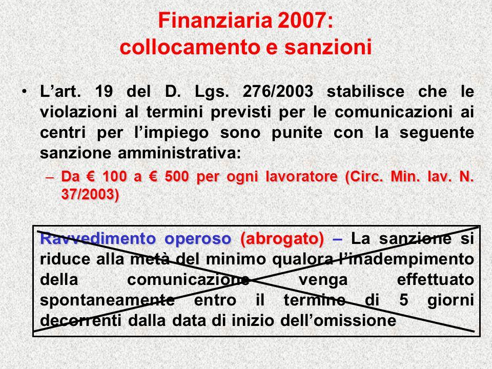Finanziaria 2007: collocamento e sanzioni