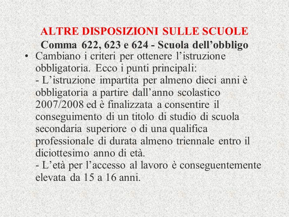 ALTRE DISPOSIZIONI SULLE SCUOLE Comma 622, 623 e 624 - Scuola dell'obbligo
