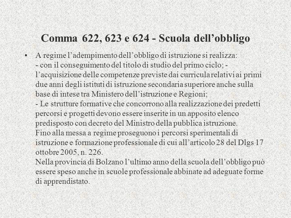 Comma 622, 623 e 624 - Scuola dell'obbligo
