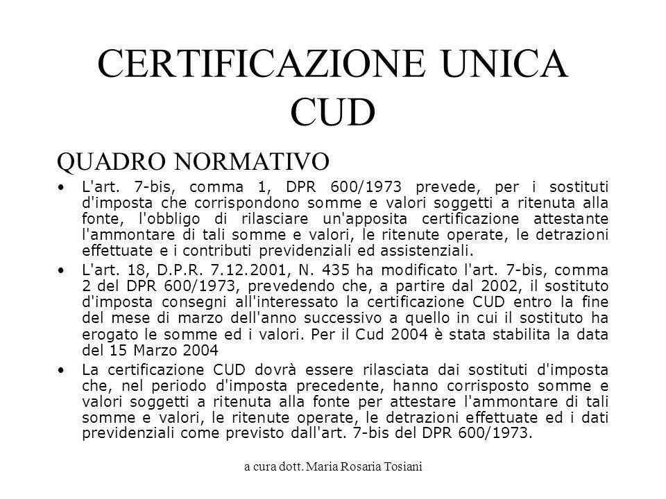 CERTIFICAZIONE UNICA CUD