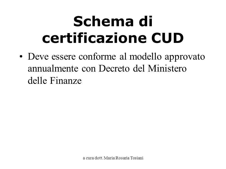 Schema di certificazione CUD