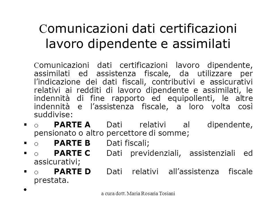 Comunicazioni dati certificazioni lavoro dipendente e assimilati