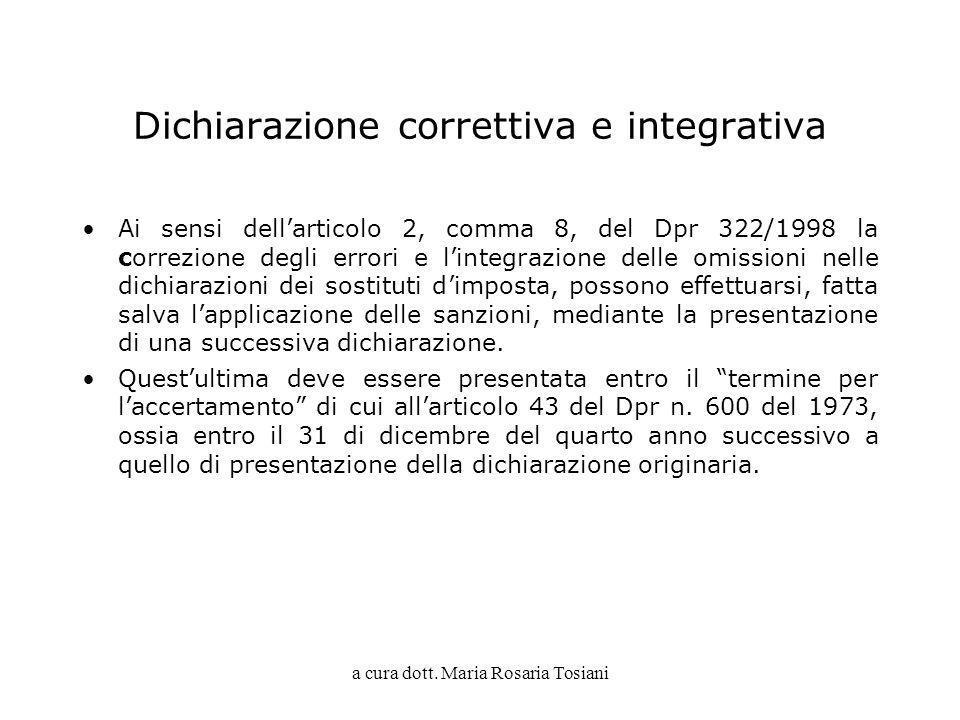 Dichiarazione correttiva e integrativa