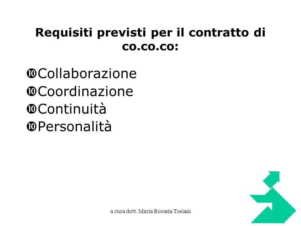 Requisiti previsti per il contratto di co.co.co: