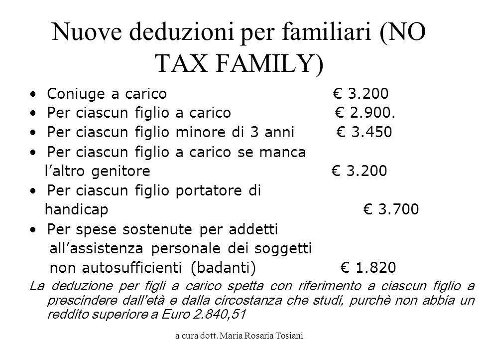 Nuove deduzioni per familiari (NO TAX FAMILY)