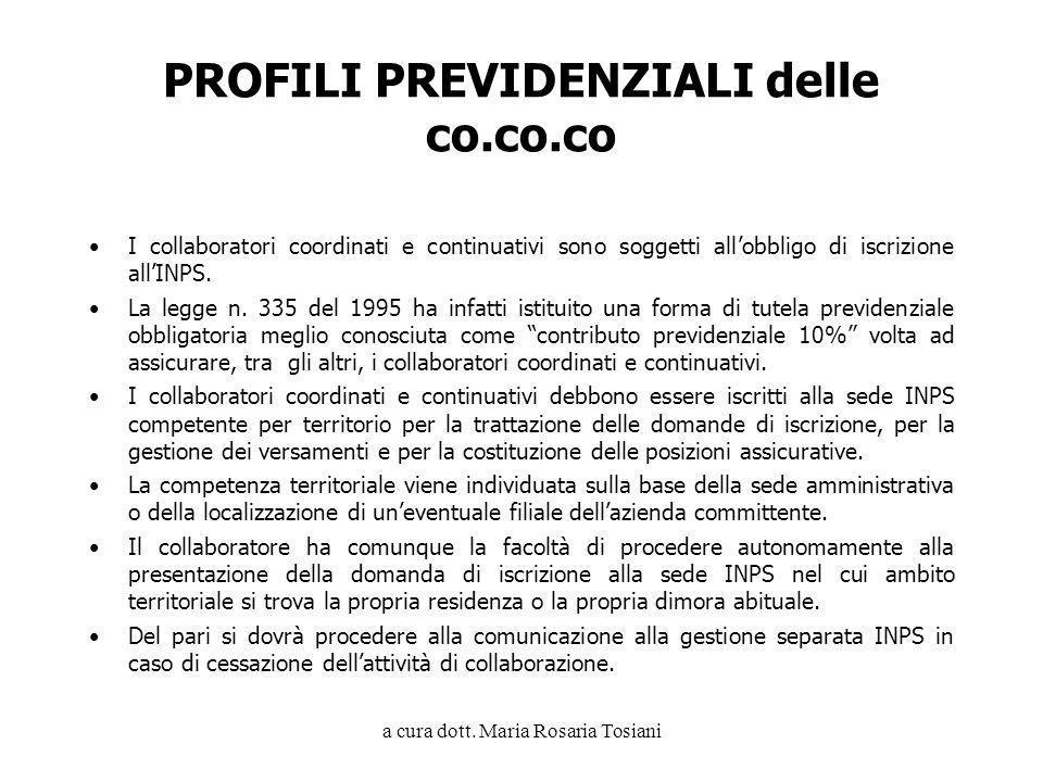 PROFILI PREVIDENZIALI delle co.co.co