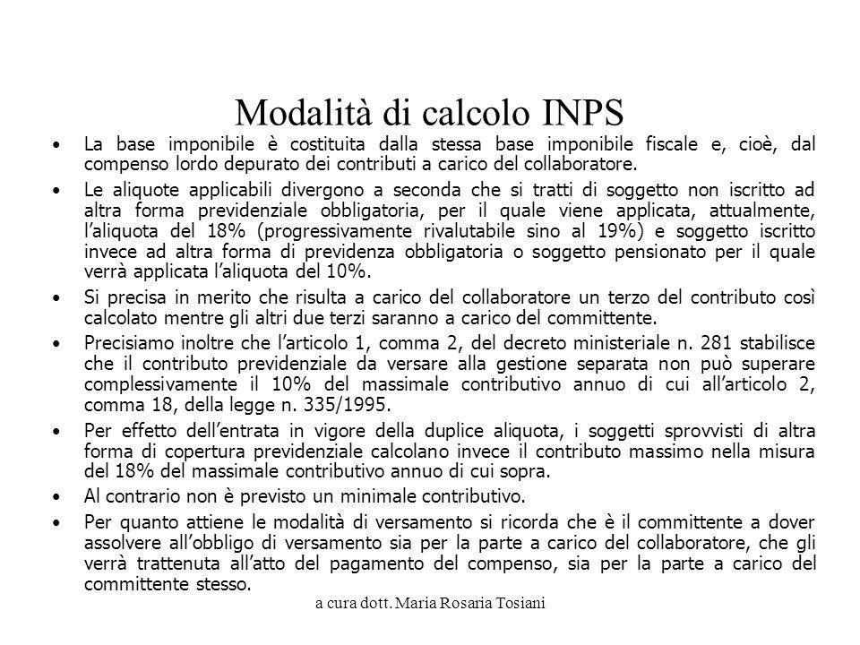 Modalità di calcolo INPS