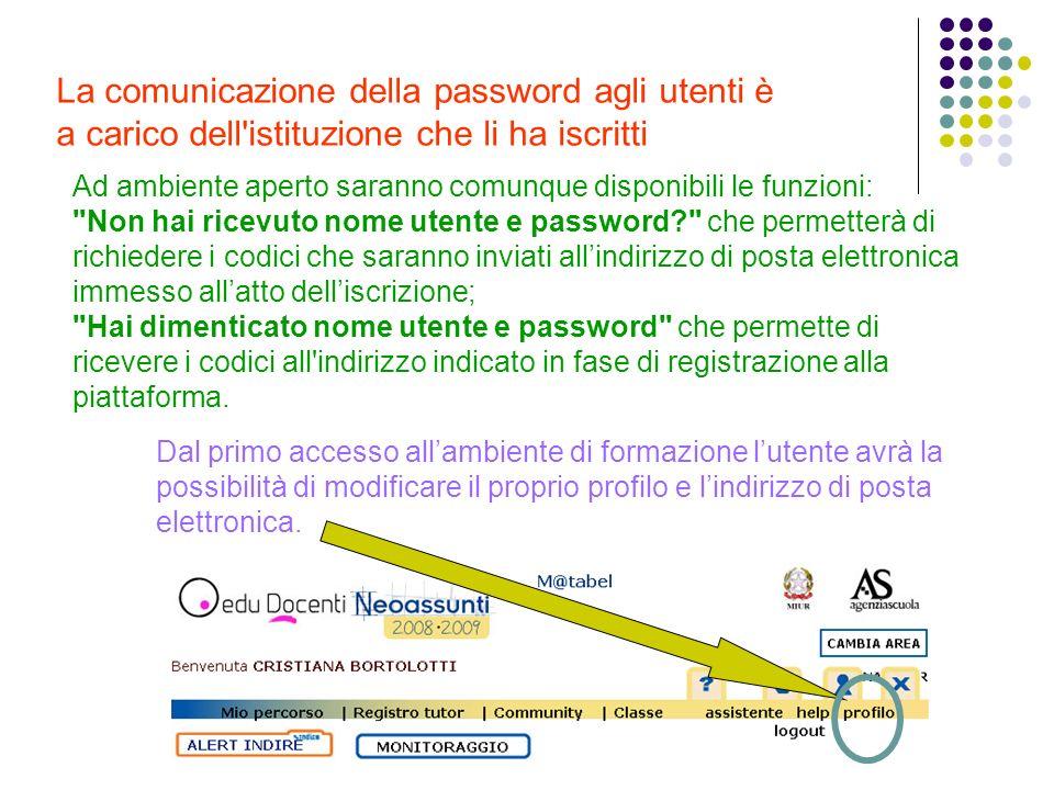La comunicazione della password agli utenti è