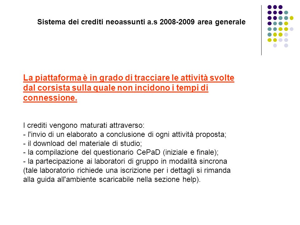 Sistema dei crediti neoassunti a.s 2008-2009 area generale
