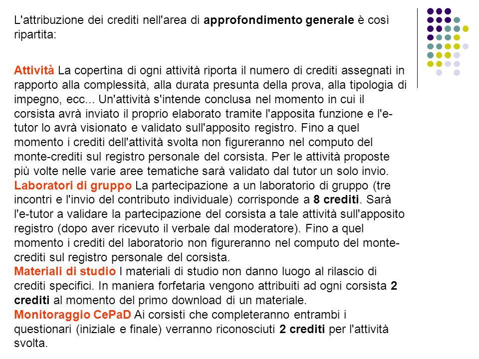 L attribuzione dei crediti nell area di approfondimento generale è così ripartita: