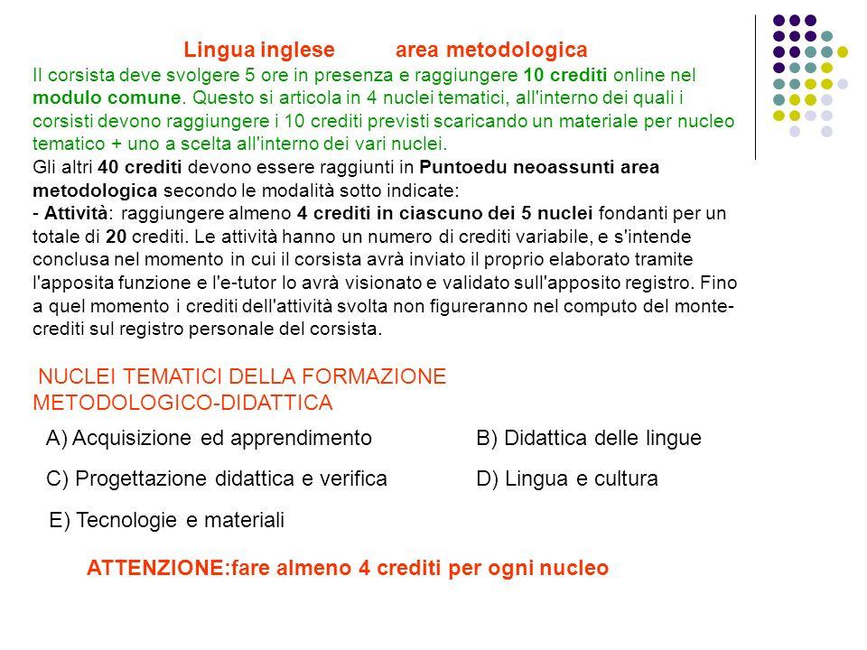 Lingua inglese area metodologica