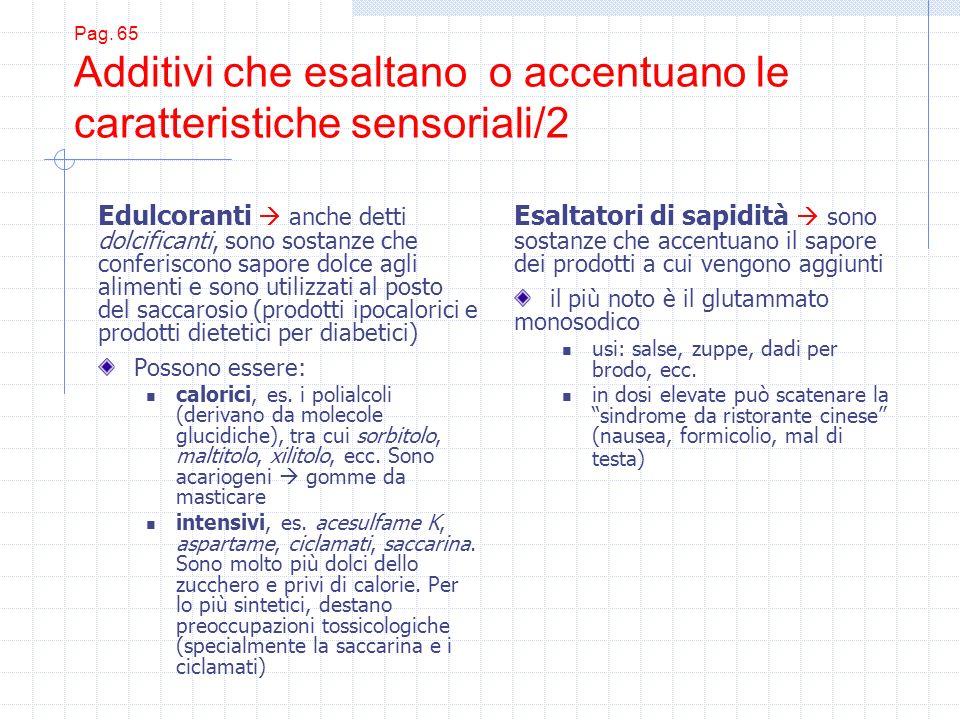 Pag. 65 Additivi che esaltano o accentuano le caratteristiche sensoriali/2