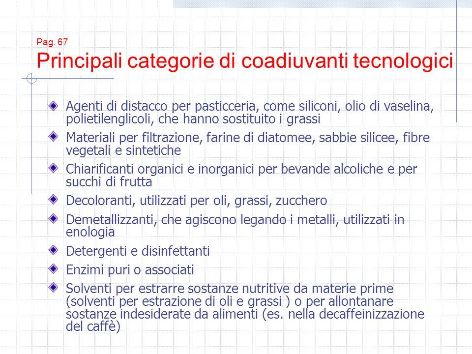 Pag. 67 Principali categorie di coadiuvanti tecnologici