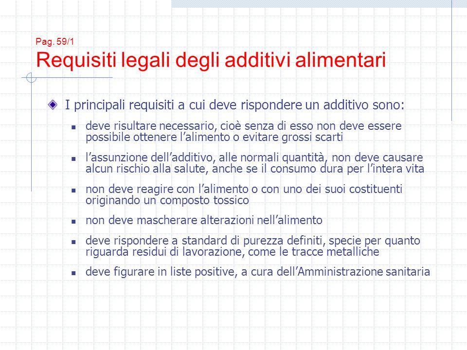 Pag. 59/1 Requisiti legali degli additivi alimentari