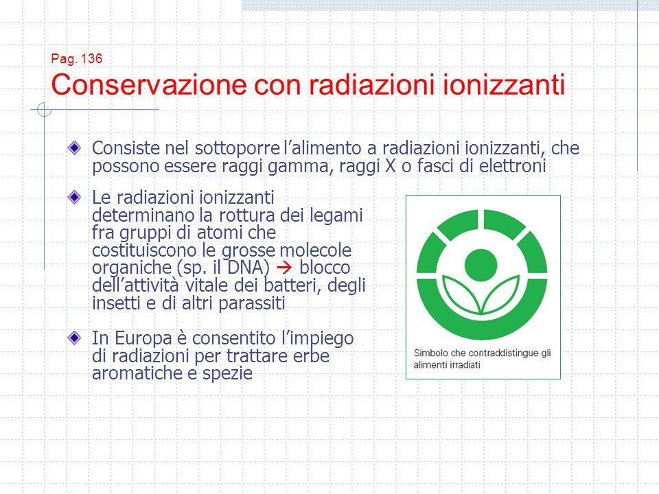 Pag. 136 Conservazione con radiazioni ionizzanti