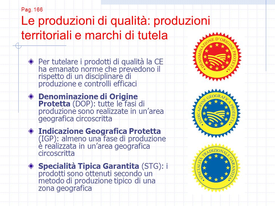 Pag. 166 Le produzioni di qualità: produzioni territoriali e marchi di tutela