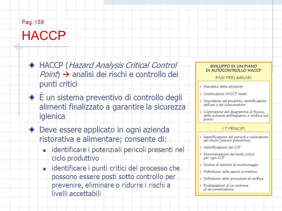 Pag. 159 HACCP HACCP (Hazard Analysis Critical Control Point)  analisi dei rischi e controllo dei punti critici.