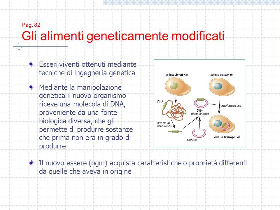 Pag. 82 Gli alimenti geneticamente modificati