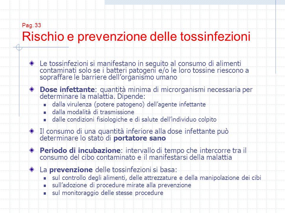 Pag. 33 Rischio e prevenzione delle tossinfezioni