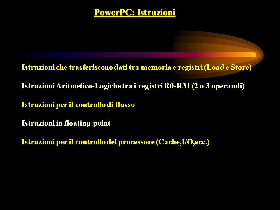 PowerPC: Istruzioni Istruzioni che trasferiscono dati tra memoria e registri (Load e Store)