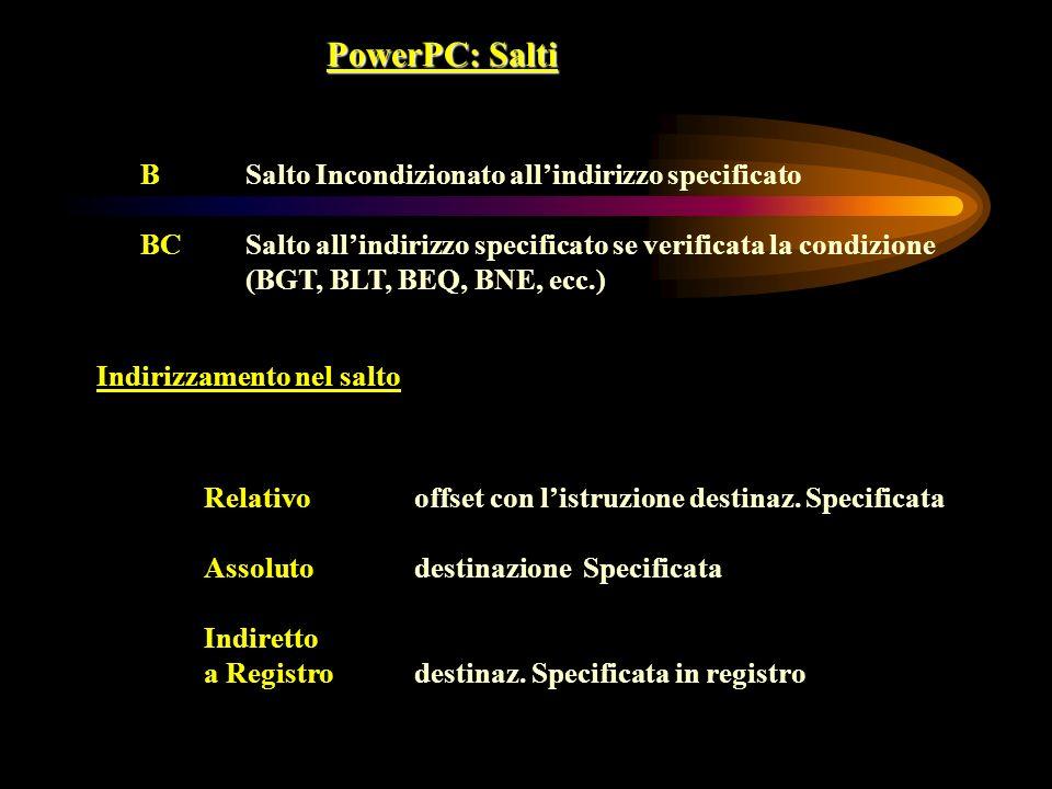 PowerPC: Salti B Salto Incondizionato all'indirizzo specificato