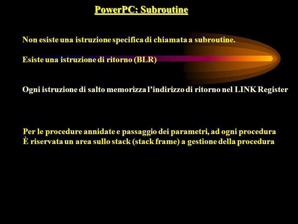 PowerPC: Subroutine Non esiste una istruzione specifica di chiamata a subroutine. Esiste una istruzione di ritorno (BLR)