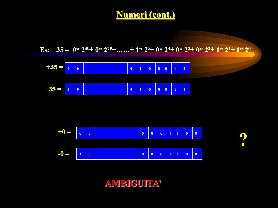 Numeri (cont.) AMBIGUITA'