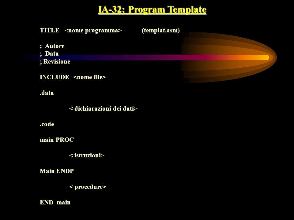IA-32: Program Template TITLE <nome programma> (templat.asm)