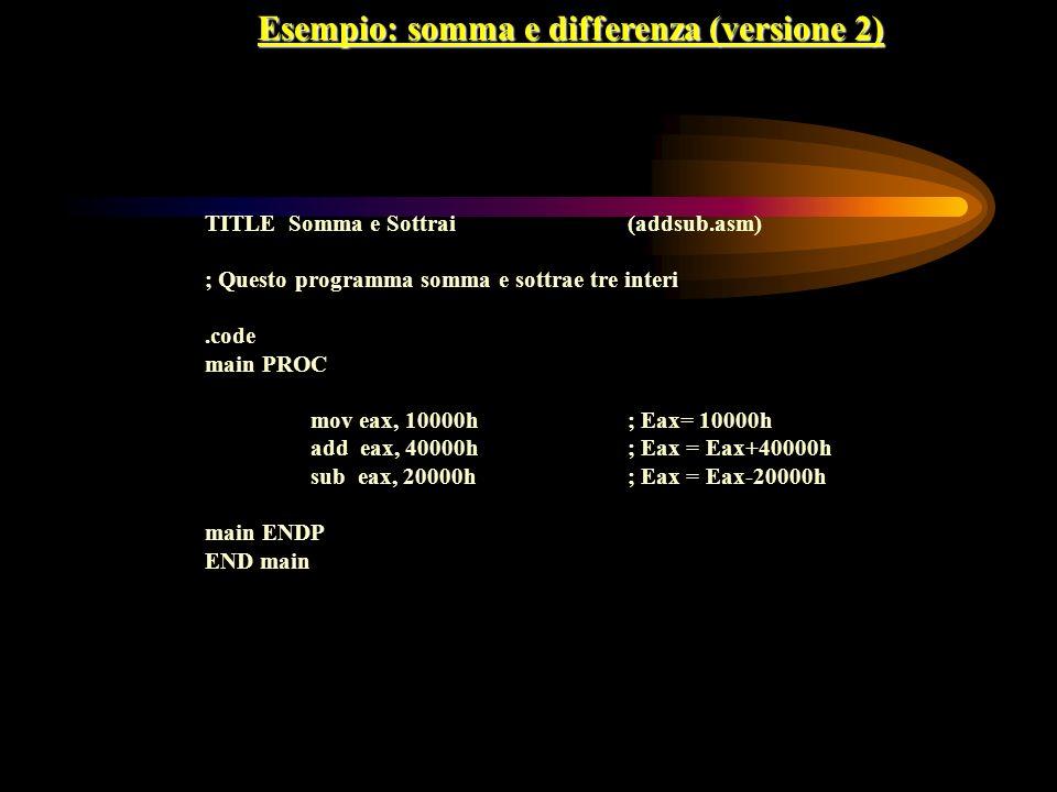Esempio: somma e differenza (versione 2)