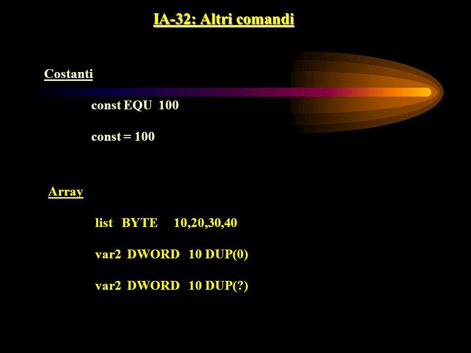 IA-32: Altri comandi Costanti const EQU 100 const = 100 Array