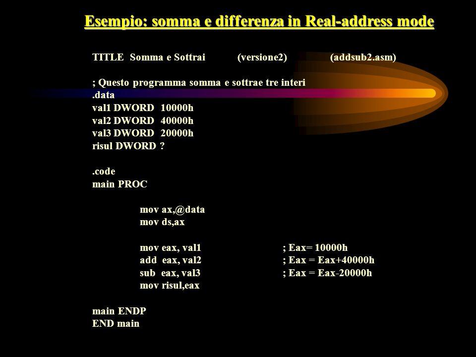 Esempio: somma e differenza in Real-address mode