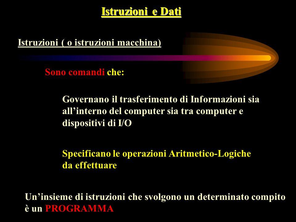 Istruzioni e Dati Istruzioni ( o istruzioni macchina)