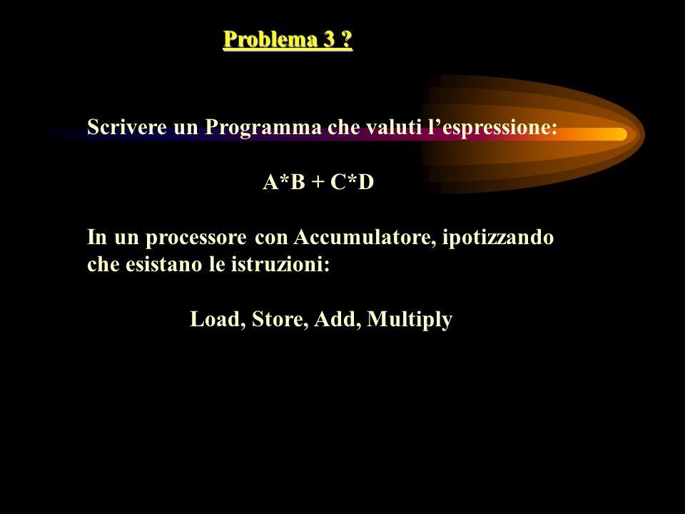 Problema 3 Scrivere un Programma che valuti l'espressione: A*B + C*D. In un processore con Accumulatore, ipotizzando.