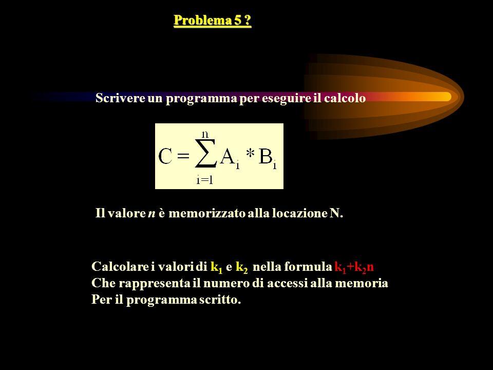 Problema 5 Scrivere un programma per eseguire il calcolo. Il valore n è memorizzato alla locazione N.