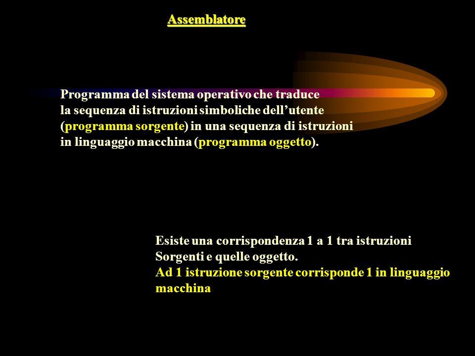 Assemblatore Programma del sistema operativo che traduce. la sequenza di istruzioni simboliche dell'utente.