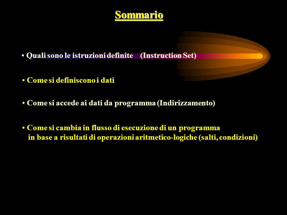 Sommario Quali sono le istruzioni definite (Instruction Set)