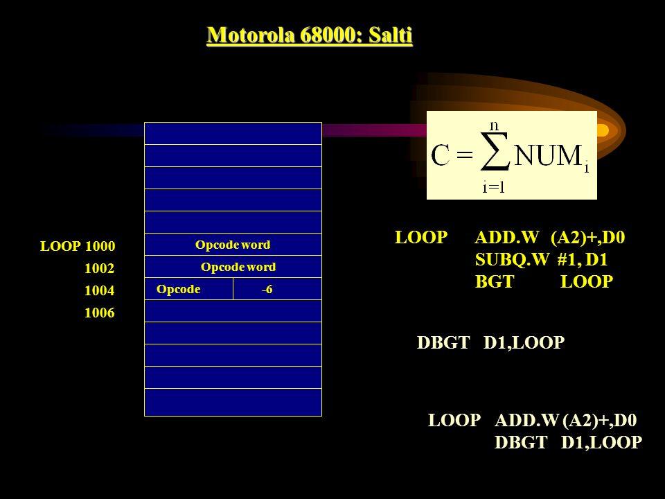 Motorola 68000: Salti LOOP ADD.W (A2)+,D0 SUBQ.W #1, D1 BGT LOOP