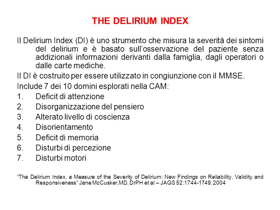 THE DELIRIUM INDEX
