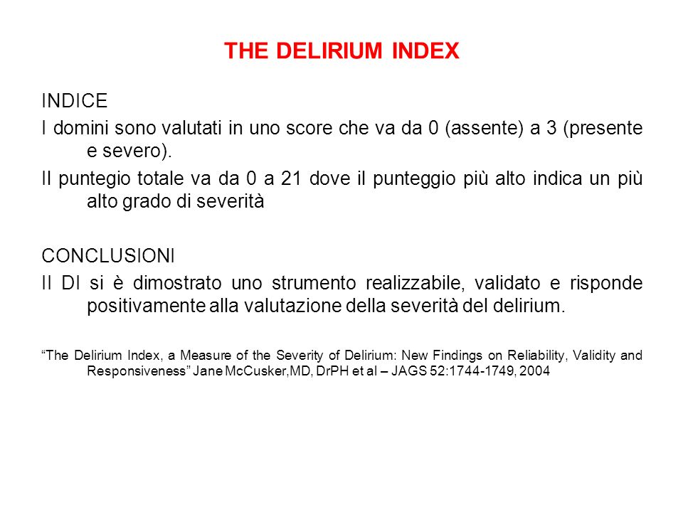THE DELIRIUM INDEX INDICE