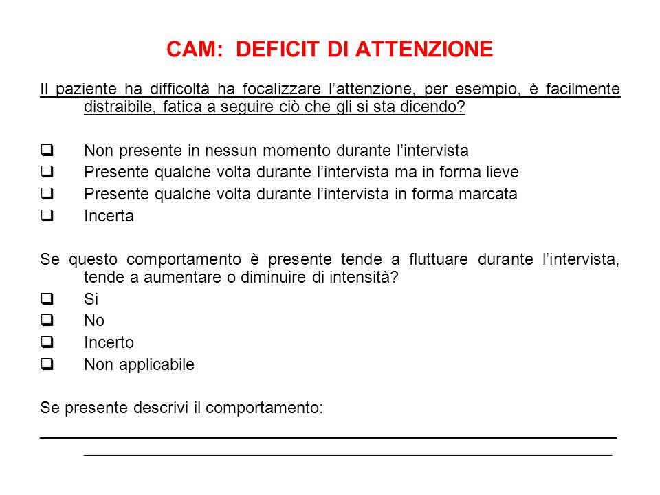 CAM: DEFICIT DI ATTENZIONE